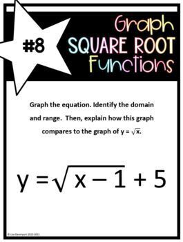 Graph Square Root Functions (Rotations Activity/ Task Cards)
