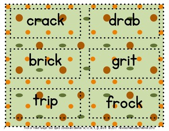 Trick or Treat! Graph Your Spins Consonant Blends: br, cr, dr, fr, gr, tr
