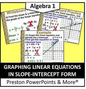 (Alg 1) Graphing Linear Equations in Slope-Intercept Form in a PowerPoint