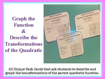 Graph and Describe Transformations on Quadratics