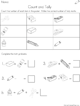 Graph and Tally Poster Set: School Supplies Pictures