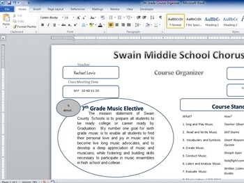 Graphic Course Organizer and Map for Chorus, Music, Content Literacy