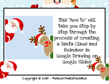 Graphic Design Digital Christmas Santa and Reindeer in Google Drawing or Slides