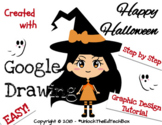 Graphic Design Digital Halloween Witch in Google Drawing o