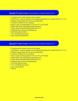 Graphic Design Materials List (All Levels)