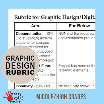 Graphic Design or Digital Art Project Rubric for Middle/High Grades