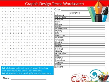 Graphic Design Terms Wordsearch Puzzle Sheet Keywords Arts Creativity Technology