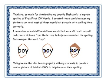 Graphic Flashcards to Improve Spelling of Fry's First 100 Words Free Sample
