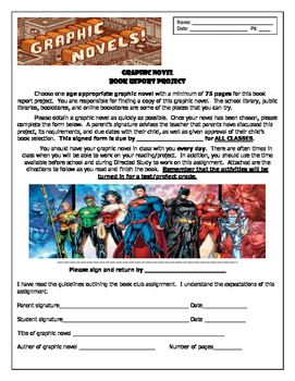 Graphic Novel Book Report Project Packet