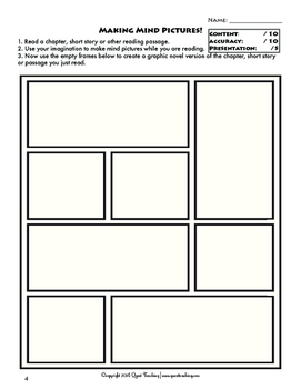 graphic novel templates for reading comprehension by quest teaching