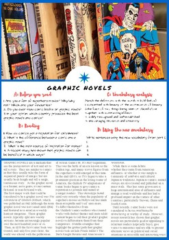 Graphic Novels - ESL Reading, Comprehension Check & Vocabulary Review