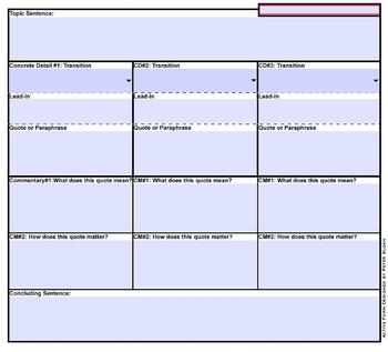 Graphic Organizer 11 Sentence Paragraph Writing Smartboard & Handout