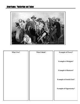 Graphic Organizer:  Americans Yesterday and Today