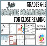 FREE Grades 6-12 Graphic Organizers for Close Reading: Fic