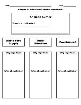 Graphic Organizer - Ancient Sumer