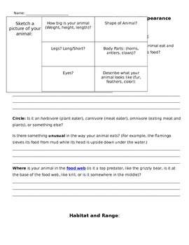 Graphic Organizer- Animal Reports
