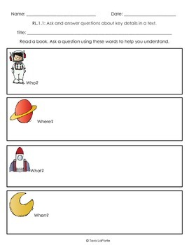 Graphic Organizer Ask a Question RL1.1