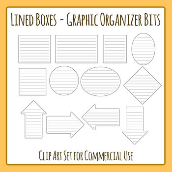 Graphic Organizer Bits - Lined Boxes Clip Art for Commercial Use