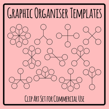 Graphic Organizer Blank Templates Clip Art Set for Commercial Use