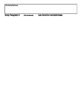 Graphic Organizer Body Paragraph Evidence Based Response