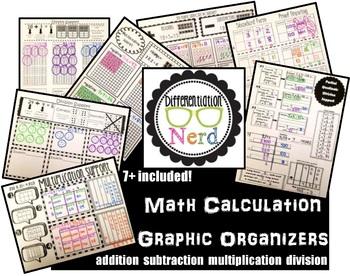 Graphic Organizer Bundle: addition, subtraction, multiplication, division