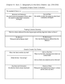 Graphic Organizer - Chapter 9, Section 1 for Holt Ancient Civilizations Book