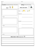 Graphic Organizer:  Characters, Settings, Major Events