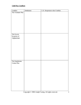 GRAPHIC ORGANIZER- Cold War Conflicts
