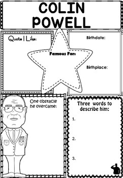 Graphic Organizer : Colin Powell - Inspiring African American Figures