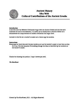 Graphic Organizer - Cultural Contributions of the Ancient Greeks