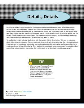 Graphic Organizer -- Details, Details