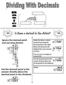 Graphic Organizer Dividing with Decimlas.