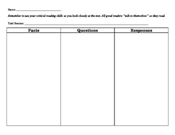 Graphic Organizer: FQR Chart (Facts, Questions, Responses)