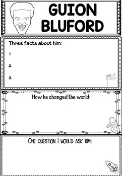 "Graphic Organizer : Guion ""Guy"" Bluford - Inspiring African American Figures"