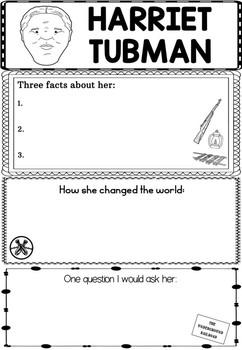 Graphic Organizer : Harriet Tubman - Inspiring African American Figures