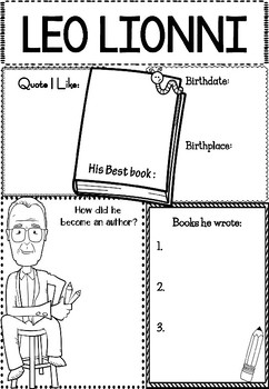 Graphic Organizer Leo Lionni Awesome Authors By Little Lotus