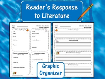 Reader's Response to Literature Graphic Organizer:  Litera