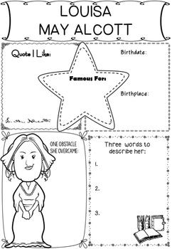 Graphic Organizer : Louisa May Alcott