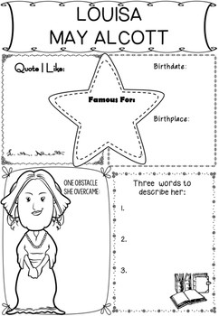 Graphic Organizer : Louisa May Alcott