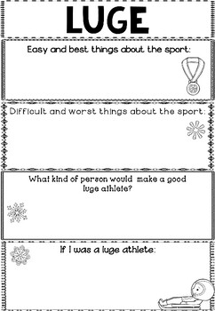 Graphic Organizer: Luge : Winter Olympics 2018, Winter Sports