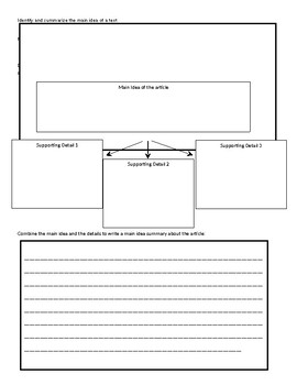 Graphic Organizer - Main Idea Practice and Assessment
