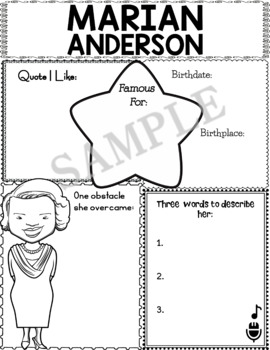 Graphic Organizer Marian Anderson African American Black