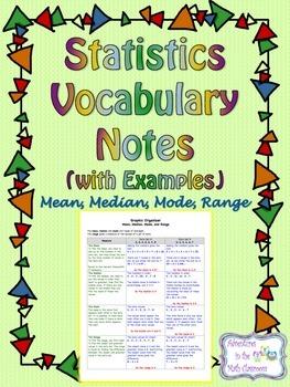 Statistics Vocabulary Notes - Mean, Median, Mode, Range