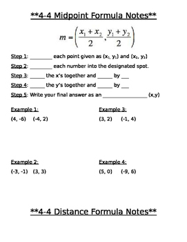 Graphic Organizer Midpoint and Distance Formula