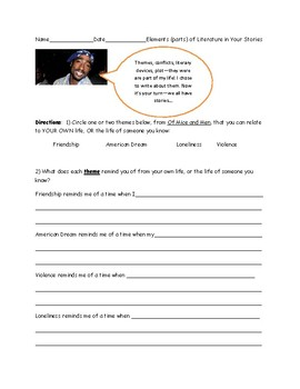 Graphic Organizer: Narrative Writing from Novel to You-Part I