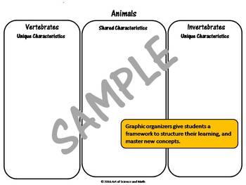 Graphic Organizer Pack - Animals - High School Science