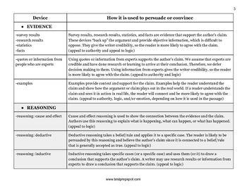 Graphic Organizer: Persuasive Devices Chart for the New SAT Essay