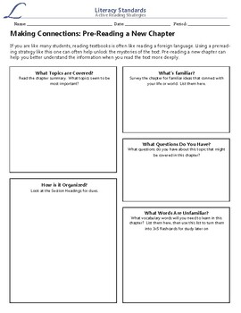 Graphic Organizer: Pre-Reading a Textbook Chapter