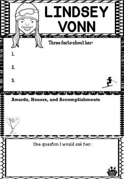 Graphic Organizer : Pro Athletes: Lindsey Vonn