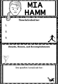 Graphic Organizer : Pro Athletes: Mia Hamm